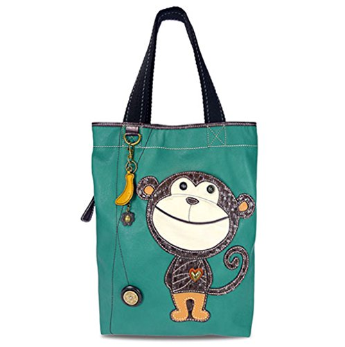 - CHALA Everyday Tote Women Handbag, Purse for Work or School, Shoulder Bag Totes with Detachable Keychain (Teal Tote-Monkey)