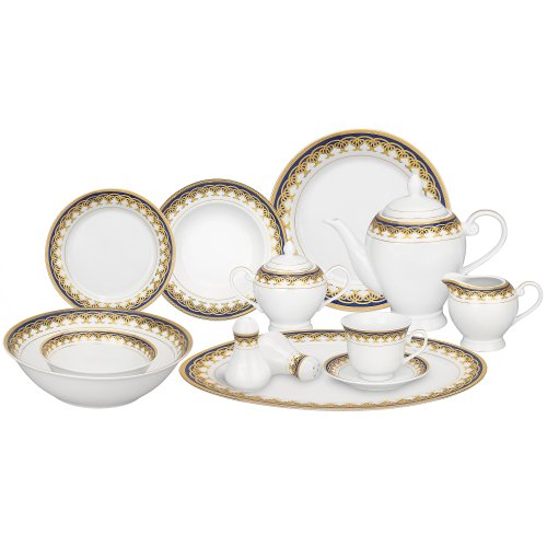 Lorren Home Trends 57-Piece Porcelain Dinnerware Set, Iris, Service for 8 (Set Porcelain Fine Dinnerware)