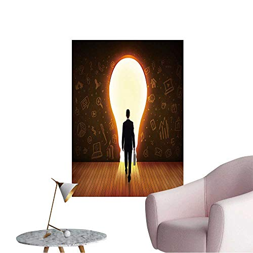 Vinyl Artwork Business Man Looking at Bright Light Bulb in The Wall Concept Easy to Peel Easy to Stick,24