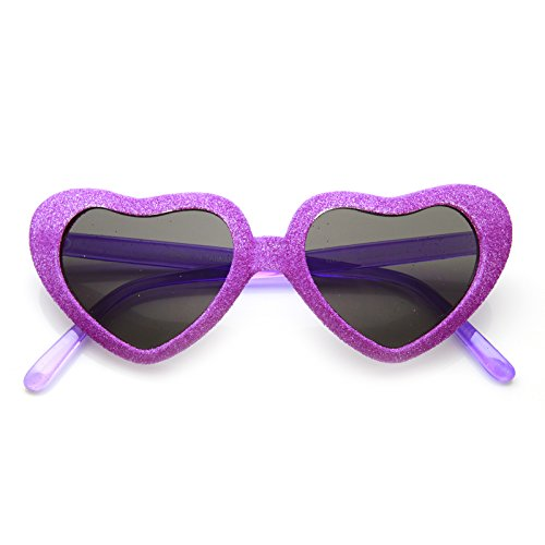 zeroUV - Super Oversized Heart Shape Colorful Glitter Party Novelty Sunglasses (Purple Smoke)