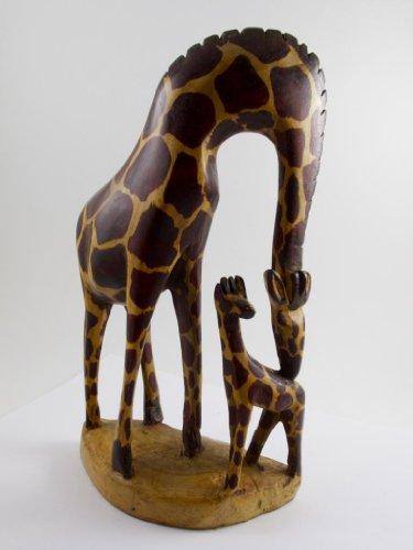 Maisha Fair Trade Hand Carved Decorative Wood Bending Giraffe with Baby