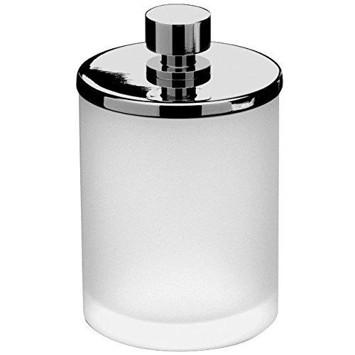 Addition Frosted Glass Round Cotton Ball Swab Holder, Q Tip Jar for Bath, Brass (Polished Chrome, Medium 3.1'') by W-Luxury