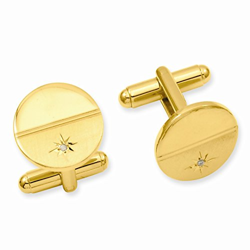 ICE CARATS Gold Plated Kelly Waters .01 Ct. Diamond Cuff Links Mens Cufflinks Man Link Water Fashion Jewelry Dad Mens Gift (Designer Gold Plated Cufflinks)