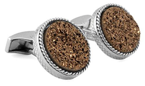 (Tateossian Silver Brown Round Bronze Drusy Cuff Link)