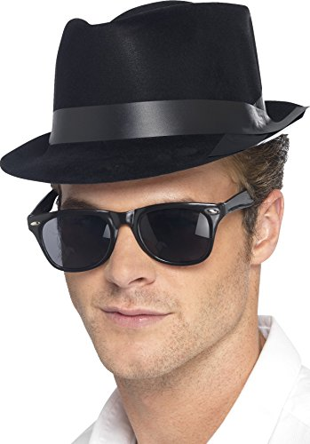 Flock Gangster Hat (Black Flock Blues Brothers Style Hat)