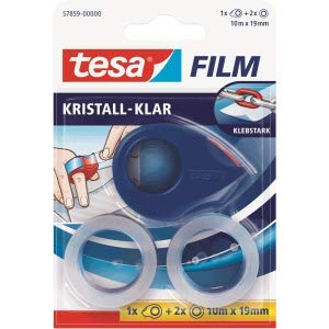 2 Rollen crystal clear rot//blau Tesa Klebefilmabroller tesafilm 19mmx10m