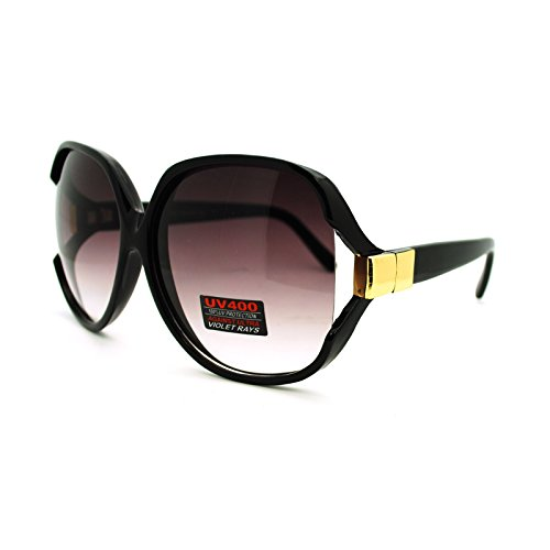 Black Super Oversized Sunglasses Womens Classic ROUND CELEBRITY PRIVACY Shades NEW