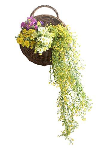 (Liqidécor Handmade Woven Hanging Basket Natural Wicker Hanging Storage Basket Vine Wall Basket for Home Garden Wedding Wall Decoration)