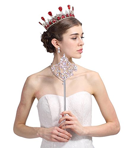Edith qi King Axe Rhinestone Scepter Magic Wand for Wedding Costume Party Festival (Celebrity Halloween Dress Up Games)