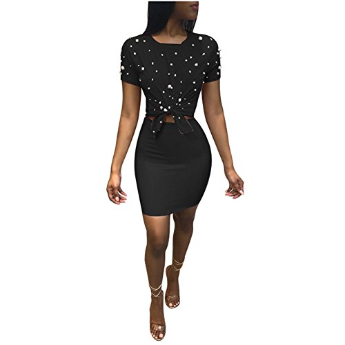 - Women 2 Piece Outfits Clubwear Beading Pearls Top with Short Bodycon PU Skirt Set M