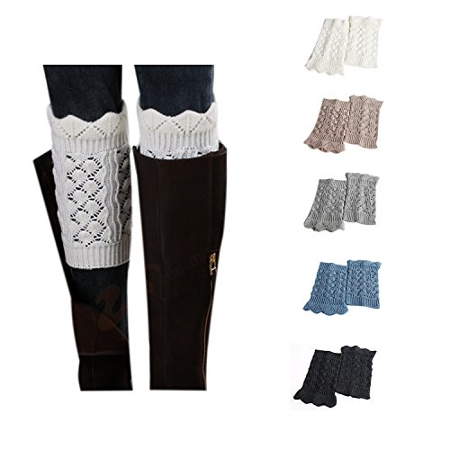 - Bestjybt Womens Short Boots Socks Crochet Knitted Boot Cuffs Leg Warmers Socks (5 Pairs-Style J)