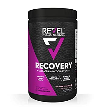 Revel Recovery for Women BCAA Plus Collagen Powder Essential Amino Acids and Coconut Water Nutritional Supplement Promote Energy Recovery Hydration 30 Servings Strawberry Watermelon