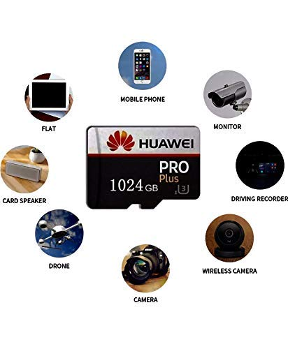 Huawie 1024GB Memory Card MicroSD High Speed Transfer MicroSDXC TF Card with SD and USB Adapters