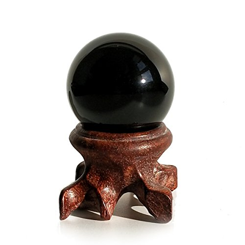 Mina Heal Obsidian Crystal Ball 30mm / 1.2 for Fengshui Scrying Ball, Meditation, Crystal Healing, Divination Sphere, Home Decoration, 100% Natural and Genuine