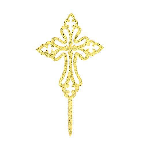 Gold Cross Cake Topper God Bless Cake Topper,First Communion,Baptism, Christening Decors Bless This - Tops Cake Christening
