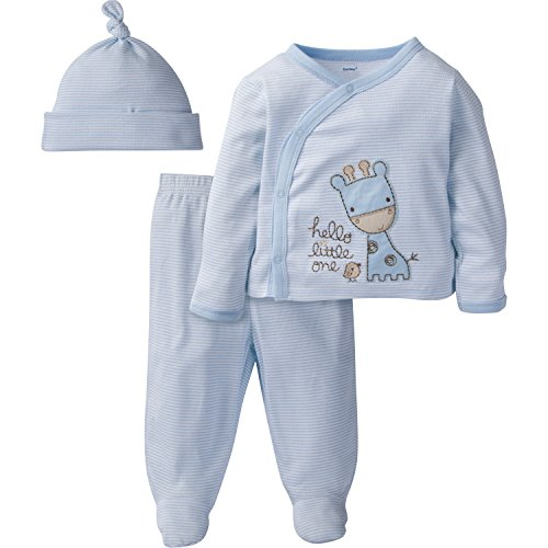 Gerber Baby Boy 3 Piece Side Snap Mitten Cuff Shirt, Footed Pant & Cap, giraffe, (Blue Giraffe Clothes)