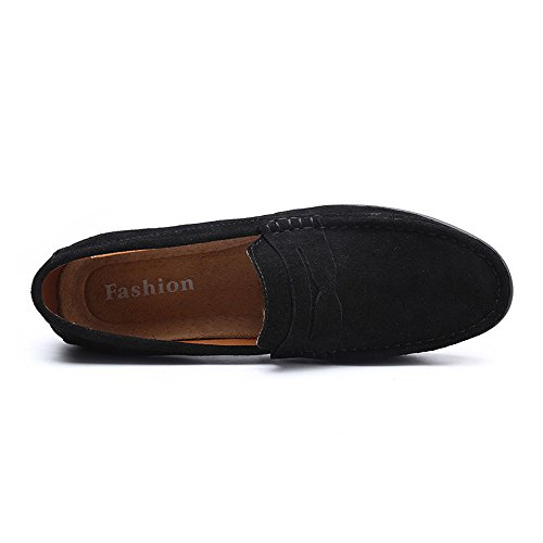 VILOCY Men's Casual Suede Slip On Driving Moccasins Penny Loafers Flat Boat Shoes Black,45 by VILOCY (Image #4)