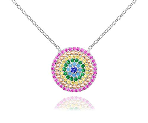 NYC Sterling Sterling Silver Rainbow Evil Eye Disc Pendant Necklace (Rhodium-Plated-Silver)