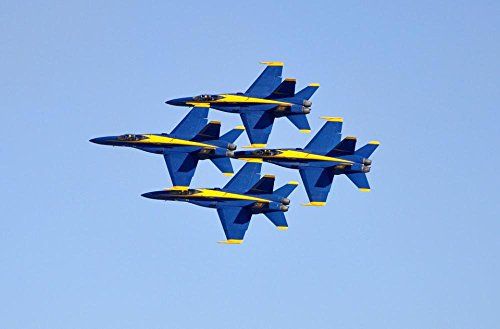 LAMINATED 36x24 inches Poster: Blue Angels Jets F-18 Flight