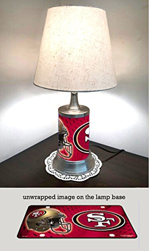 (JS Table Lamp with Shade, San Francisco 49ers Plate Rolled in on The lamp Base)