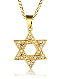"""Halukakah """"STAR"""" Men's 18k Gold Plated Hexagram Pendant Necklace with FREE Box Chain 30"""""""