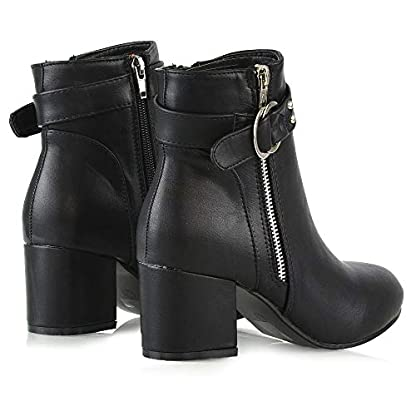 ESSEX GLAM Womens Ankle Boots Block Low Mid Heel Ladies Zip Buckle Strap Smart Booties Shoes 5