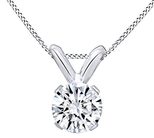 (AFFY Mothers Day Jewelry Gifts Round Cut White Natural Diamond Solitaire Pendant Necklace in 14k White Gold (0.25 Cttw))