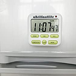 aBrilliantLife Electrical Digital Kitchen Timer 24 Hour Alarm Clock Big Digits Large Screen,Magnet Backing,Stand,ON OFF Switch,White and Green