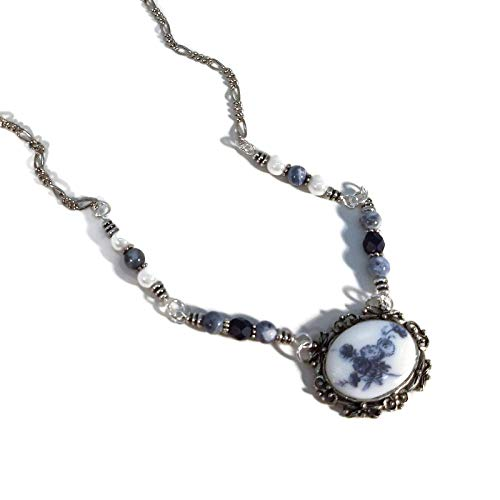 (Blue & White Floral Pendant Necklace, Handmade, Roses, Mums, Flowers, Silver Plated Brass, Pewter)
