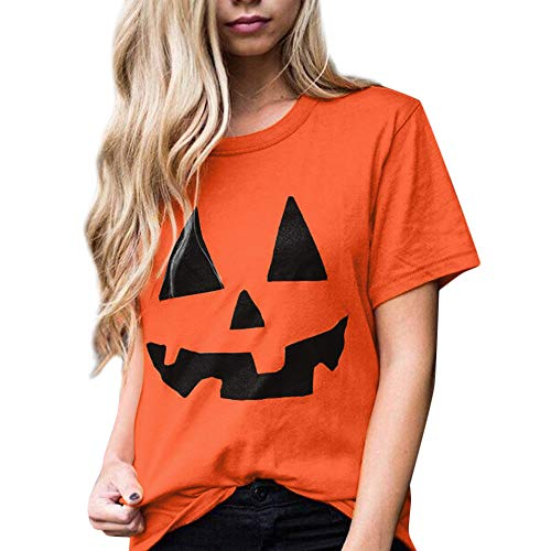 kaifongfu Hot Women's Halloween Top with Pumpkin Print Short Sleeve Blouse (Orange,M)