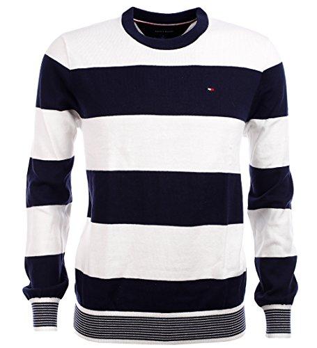Tommy Hilfiger Herren Rundhals Pullover dunkelblau weiß gestreift Größe M
