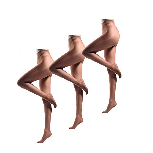 JIAYI Women's Sheer To Waist Sexy Silk Pantyhose Tights From S To XXXXL(Bronze 3 Pairs+1 as gift) -
