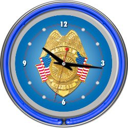 Trademark PO1400 Double Ring Neon Clock With Police Officer Logo