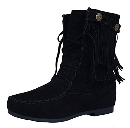 YE Damen Flache Wildleder Stiefeletten mit Schnürung und Fransen Riemchen Bequeme Ankle Boots Herbstschuhe Schwarz