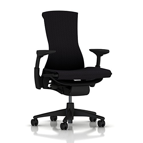 Herman Miller Embody Chair: Fully Adj Arms – Graphite Frame/Base – Standard Carpet Casters