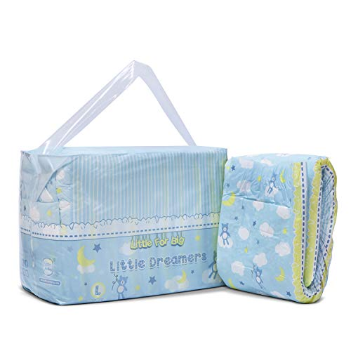 Littleforbig Printed Adult Brief Diapers Adult Baby Diaper Lover ABDL 10 Pieces - Little Dreamers(L)