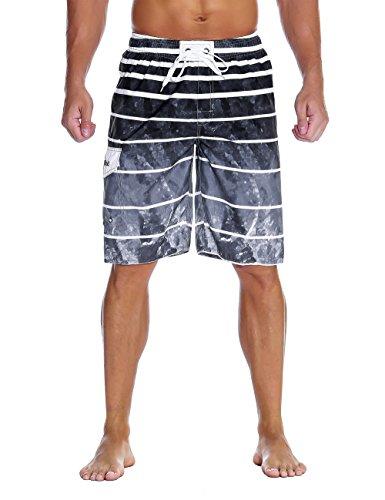 Nonwe Men's Beachwear Quick Dry Holiday Drawstring Striped Board Shorts Gray Pattern 28 by Nonwe