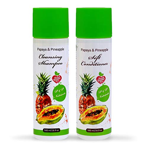 Papaya & Pineapple Natural Shampoo and Conditioner Set | Damaged, Frizzy, Brittle & Dry Hair Repair Treatment| Deep Conditioning, Hydrating & Moisturizing for Smooth, Soft, Silky Hair For - Papaya Hair