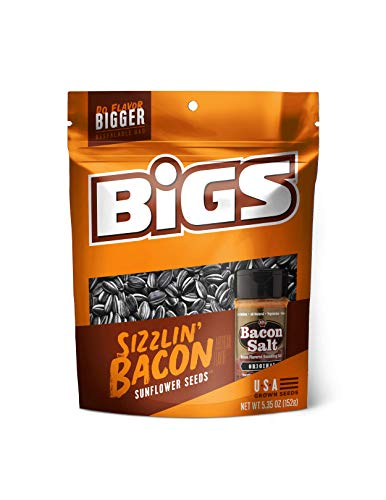BIGS Bacon Salt Sizzlin' Bacon Sunflower Seeds, 5.35-Ounce Bag(Pack of 12) (Best Sunflower Seed Flavor)