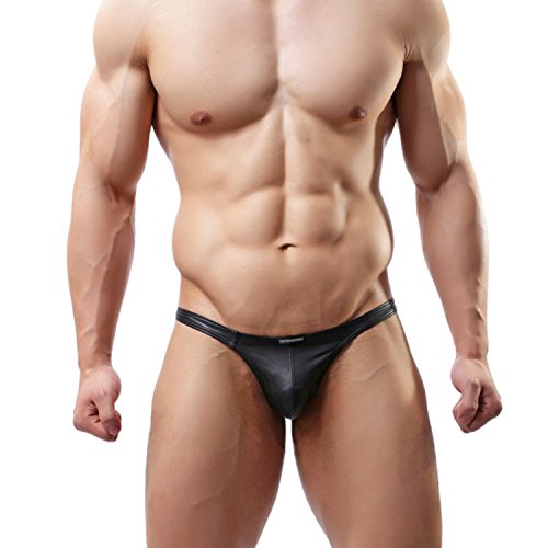 MuscleMate® 2018 S/S, Hot Men's Thong Men's Leather T-Back G-String Comfort Thong Low Raise Underwear (M) -
