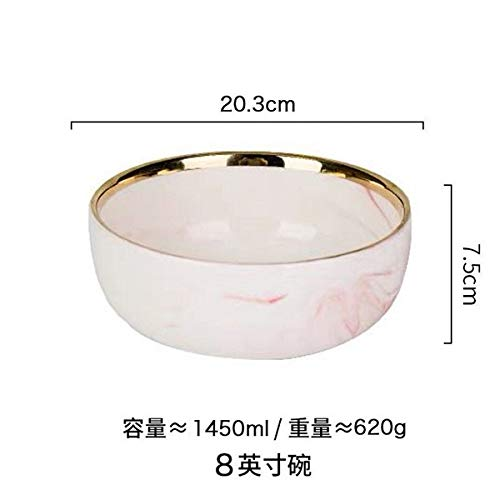 WXLHBSTM Pink Ceramic Tray Gold Plated Edge Western Food Steak Plate Food Bowl Home Tableware Bowl 10 8 inch