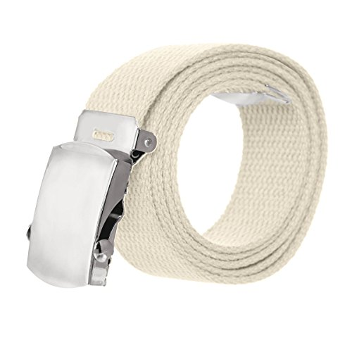 Canvas Military Style Belt with Silver Buckle – (Designer Style Belt Buckle)