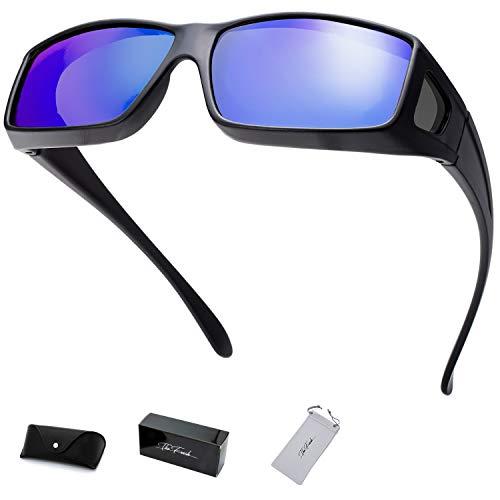 The Fresh High Definition Polarized Wrap Around Shield Sunglasses for Prescription Glasses - Gift Box Package (706-Matte Black, Blue Mirror(Grey side lens))