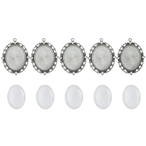 Transparent Antique (Nydotd 5 Set of 40x30mm Oval Clear Glass Cabochon Cover and 61x48mm Antique Silver Tibetan Style Pendant, Transparent Dome Bezel Pendant Trays Oval Cabochon Settings Blanks for DIY Jewelry Making)