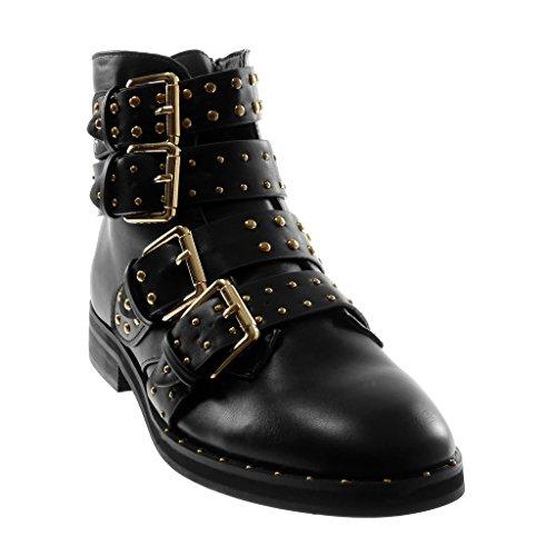 Butin Bottes Bottes Chaussures Perle Motards Cavalier 2 Femmes De 5 Mode Angkorly Cm Noir Haut De Talon 3 bloc Clouté Multi Combat Cheville De Sangles E8wx4qqA0