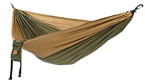 HangLeaf - Premium Double Size Portable Camping Hammock - Khaki/Olive Green - Lightweight Parachute Hammock great for Outdoor action, Backpacking, Camping, Travel, Beach, Fishing, Hunting, Surfing