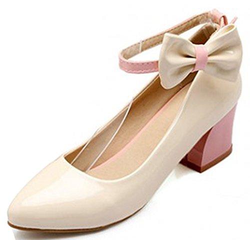 Idifu Mujeres Sweet Pointy Toe Mid Chunky Tacones Bombas Zapatos Con Arco Tobillo Correa Beige