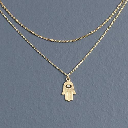 (WAS $34.00 - layered/two strands; CZ diamond, HAMSA hand charm, pendant GOLD plated necklace, simple, small, everyday )