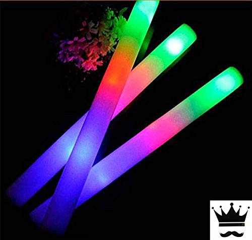 100 Pack of 18 Inch Multi Color Flashing Glow LED Foam Sticks, Wands, Batons - 3 Modes Multi-Color - Party Flashing Light DJ Wands, Concert, Festivals, Birthdays, Party Supplies, Weddings, Give Aways]()