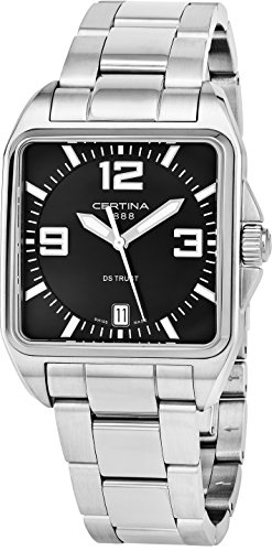 Certina DS Trust Mens 34MM Black Face with Date Square Luminous Watch - Swiss Made Analog Quartz Stainless Steel Luxury Watch For Men C019.510.11.057.00